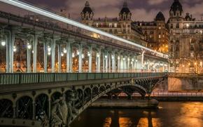 Picture bridge, Paris, paris, bridge, night view, night view