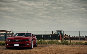Picture the sky, red, clouds, the fence, red, Chevrolet, front view, chevrolet, bulldozer, camaro ss, Camaro …