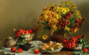 Picture flowers, kettle, berries, still life, Cup, apples, cakes