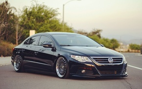 Picture volkswagen, black, tuning, front, face, germany, low, stance, passat