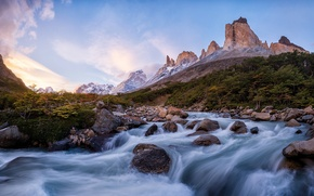 Picture mountains, river, stream, Chile, Andes, South America, Patagonia