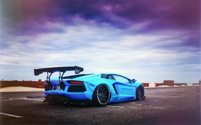 Picture Lamborghini, LP700-4, Aventador, Blue Shark, Liberty Walk Performance