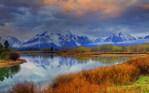 Picture forest, the sky, clouds, snow, trees, mountains, nature, lake, river, Wyoming, USA