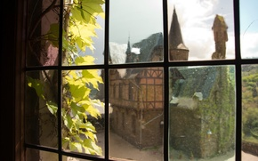 Picture castle, window, Germany, Cochem