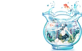 Picture aquarium, fish, anime, art, girl, Vocaloid