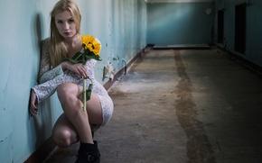Picture flower, girl, dress, corridor, legs