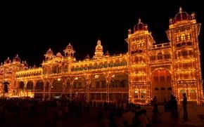 Picture night, lights, India, Palace, festival of dasar, Karnataka, Mysore