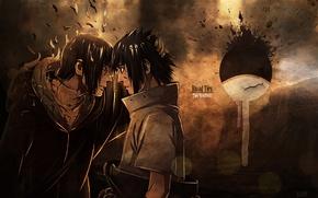Picture blood, emblem, hatred, brothers, Naruto, crack, Uchiha Itachi, Sasuke Uchiha, eye to eye, Naruto shippuuden, …