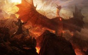 Wallpaper rocks, dragon, war, art, lava, spear, Archer, Dragon's Dogma