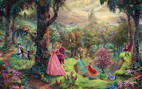Wallpaper forest, trees, Park, castle, dragon, cartoon, home, tale, painting, art, characters, Thomas Kinkade, painting, castle, ...