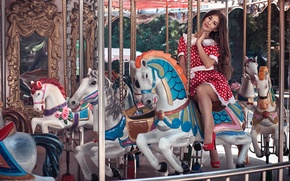 Wallpaper carousel, horses, mirror, girl, summer, long-haired, dress, model, Anna, brown hair, happy, smile, beauty, natural, ...