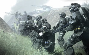 Wallpaper fog, armor, distance, halo, fiction, soldiers, armor