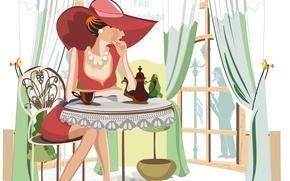Picture girl, tea, kettle, cafe, table