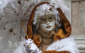 Picture umbrella, feathers, mask, Venice, carnival
