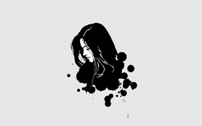 Picture girl, drops, squirt, abstract, art, profile, black and white, Doctor Who, Doctor Who, Clara Oswald, …