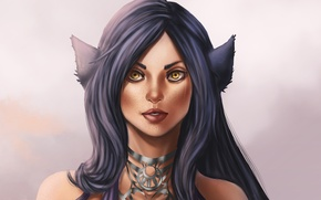 Picture look, face, fiction, hair, art, ears, yellow eyes