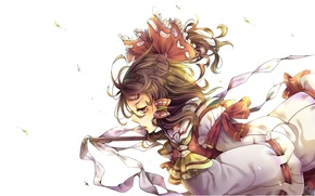 Picture leaves, the wind, magic, tape, white background, bow, priestess, touhou, Hakurei Reimu, Touhou Project, Project ...