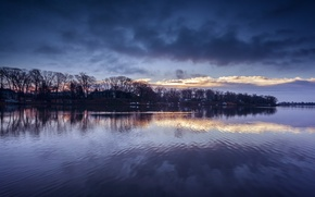 Picture the sky, clouds, trees, reflection, river, blue, shore, the evening, USA, Maryland