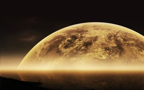 Picture moon, big, planets, Sci Fi, edged