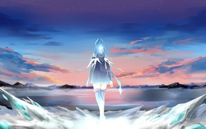 Wallpaper the sky, girl, clouds, sunset, anime, art