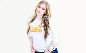 Picture Music, Avril Lavigne, Singer, White Background