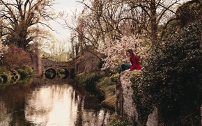 Picture girl, river, trees, bridge, flowers, reflection, branches, canal