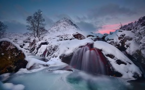 Picture winter, water, snow, the moon, mountain, ice, stream, the evening, excerpt, Scotland, Highland, Badlands Etive …