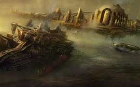 Picture the city, transport, ships, art, steampunk, Steampunk