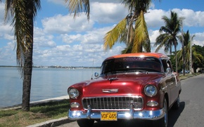 Picture sea, the sky, asphalt, palm trees, Chevrolet
