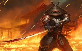 Wallpaper fire, sword, katana, hat, samurai, juggernaut wars, age
