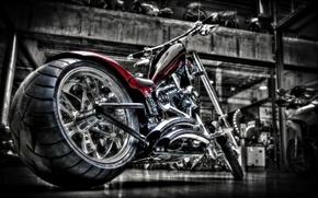 Picture motorcycle, chrome, bike, custom, custom, harley
