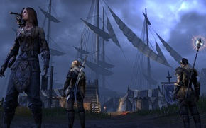 Picture weapons, the evening, ladder, sails, the fire, three, Online, guards, The Elder Scrolls, camp, mast, …