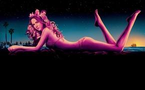Wallpaper sea, swimsuit, the sky, girl, stars, night, palm trees, the film, police, figure, art, lies, ...