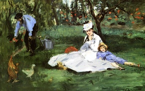Wallpaper The Monet family in the Garden at Argenteuil, genre, picture, Edouard Manet