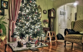 Picture holiday, tree, new year, furnished, toys on the Christmas tree