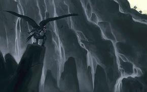 Wallpaper viewpoint, wings, mountains, fantasy, Hiraoka Masamune, being