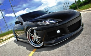 Picture road, the sky, black, headlight, Mazda, drives, the front, Mazda, power lines, RX-8