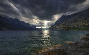 Picture the sky, rays, light, mountains, clouds, lake, island