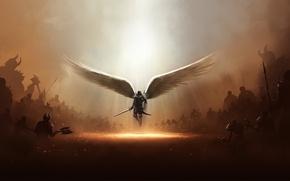 Picture wings, angel, sword, Diablo 3, the light of God