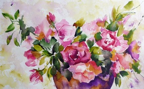 Wallpaper flowers, painting, watercolor