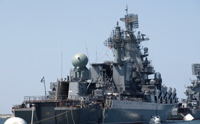 """Picture Large, anti-submarine ship, Navy, RAID, The black sea fleet, """"Kerch"""", missile cruiser, Guards, """"Moscow"""""""