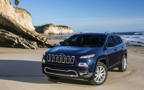 Picture sea, traces, shore, shadow, Jeep Cherokee Limited