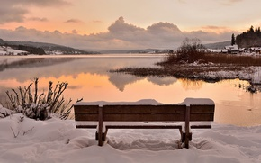 Picture twilight, sunset, winter, lake, snow, dusk, village, bench