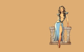 Picture fantasy, vintage, pinup, minimalism, background, Game of Thrones, tv series, Margaery Tyrell, pinup models