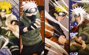 Picture anime, naruto, Minato, Kakashi, jiraya