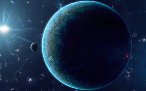 Picture Planet, blue, darkness, Sci Fi