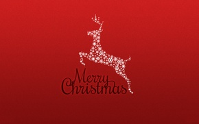 Picture red, background, new year, Christmas, minimalism, deer, holidays, merry christmas