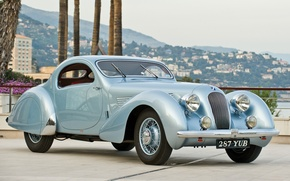 Picture retro, panorama, the front, 1938, T23, Talbot-Lago, Talbot, Teardrop Coupe, by Figoni & Falaschi