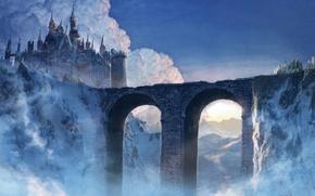 Picture clouds, bridge, castle, mountain, art, spires