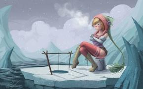 Picture girl, snow, fishing, ice, SnakeToast, do not bite, winter, frozen